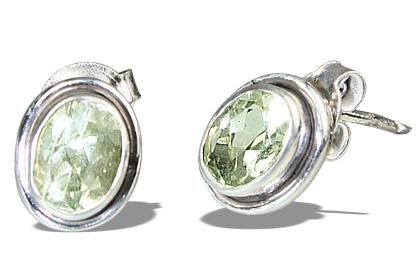 Design 10758: green green amethyst post earrings