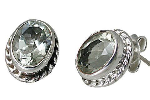 Design 10759: green green amethyst post earrings