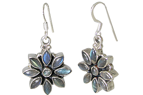 Design 10772: blue labradorite flower earrings
