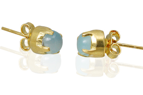 Design 10780: blue chalcedony post earrings