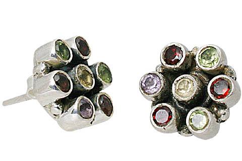 Design 10787: multi-color multi-stone flower, post earrings