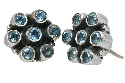 Design 10788: blue blue topaz flower, post earrings
