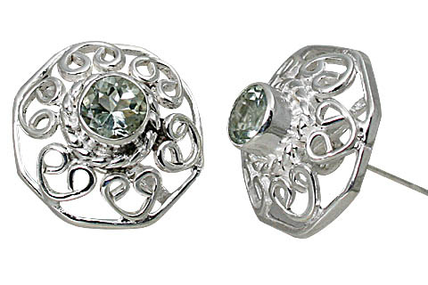 Design 10792: green green amethyst flower, gothic-medieval, post, studs earrings
