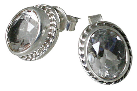 Design 10795: white white topaz post, studs earrings