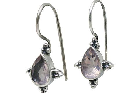 Design 10809: pink rose quartz drop earrings