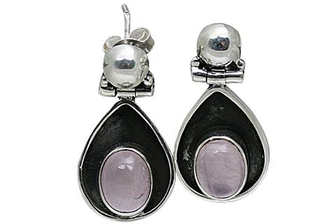 Design 10811: pink rose quartz post earrings
