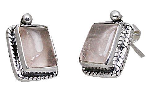 Design 10815: pink rose quartz post earrings