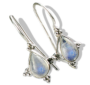 Design 10841: white moonstone drop earrings