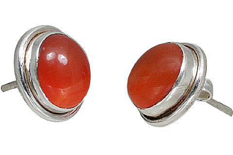 Design 10879: orange,red carnelian post earrings