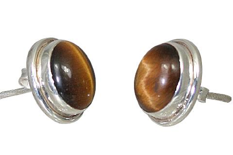 Design 10889: brown tiger eye post earrings