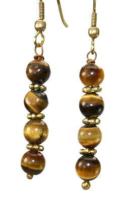 Design 11101: brown,orange tiger eye halloween earrings