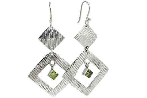 Design 11108: green,white peridot art-deco earrings