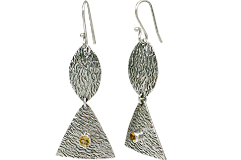 Design 11119: white,yellow citrine art-deco earrings