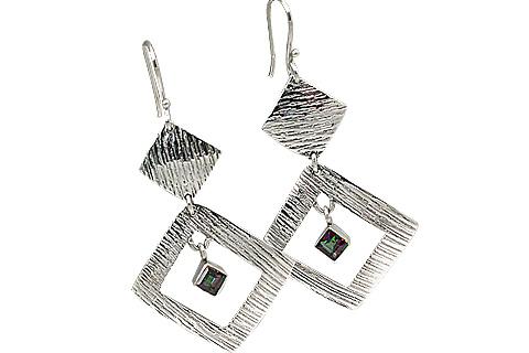 Design 11124: white mystic quartz earrings