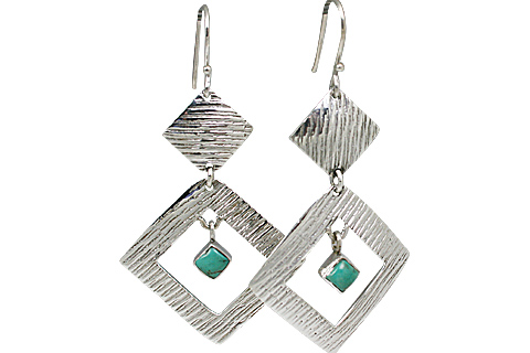 Design 11125: green turquoise art-deco earrings