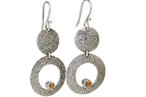 Design 11131: yellow citrine art-deco, hoop earrings