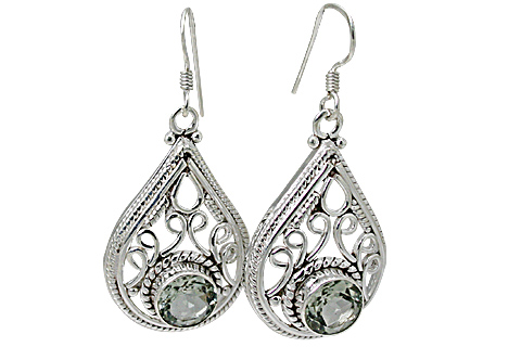 Design 11157: green,white green amethyst brides-maids earrings