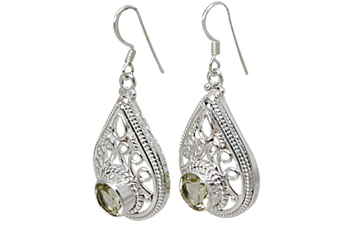 Design 11158: white,yellow lemon quartz drop, estate earrings