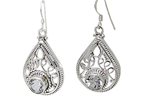 Design 11159: white white topaz drop, engagement, estate earrings