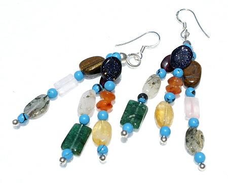 Design 11186: blue,multi-color multi-stone multistrand earrings