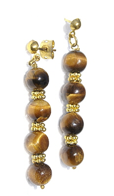 Design 11204: brown,orange tiger eye halloween earrings