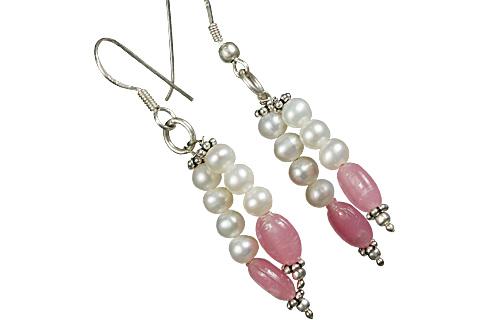 Design 11236: pink,white pearl drop earrings