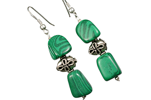 Design 11238: green malachite earrings