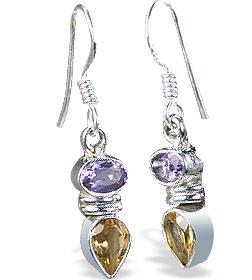 Design 11258: purple,yellow citrine drop earrings