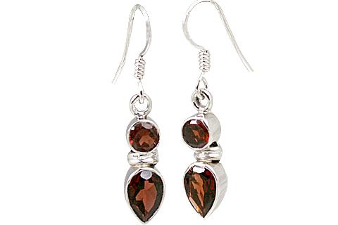 Design 11260: red garnet drop earrings