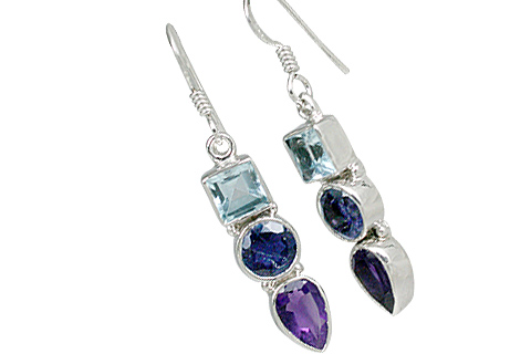 Design 11331: blue,purple multi-stone contemporary earrings