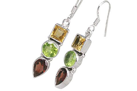 Design 11334: Multi, Red, Green multi-stone earrings