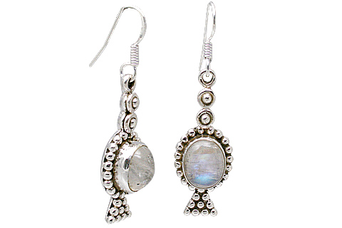 Design 11373: blue,white moonstone earrings