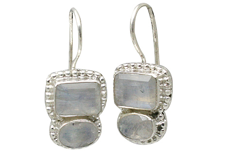 Design 11376: blue,white moonstone art-deco earrings