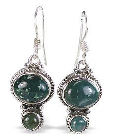 Design 11471: green,red bloodstone earrings