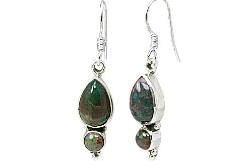 Design 11473: green,red bloodstone earrings