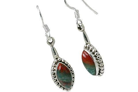 Design 11479: green,red bloodstone earrings