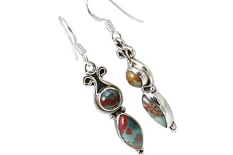 Design 11512: Green, Red bloodstone earrings