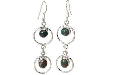 Design 11513: Green, Red bloodstone art-deco, hoop earrings