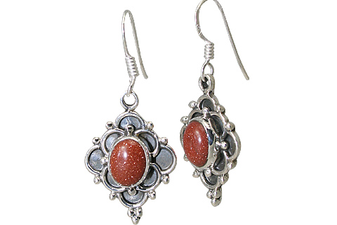 Design 11515: orange goldstone earrings