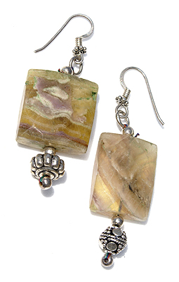 Design 11528: green,yellow fluorite chunky earrings