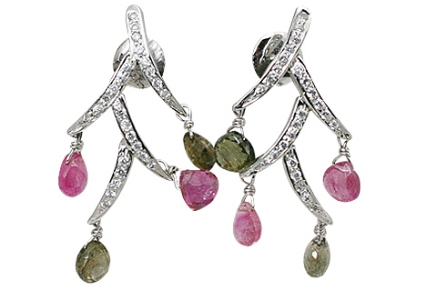 Design 11539: White, Green, Pink tourmaline earrings