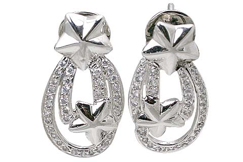Design 11545: White cubic zirconia star earrings