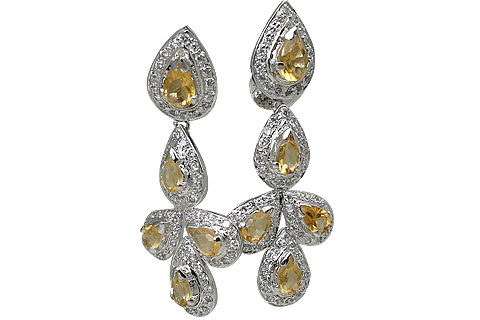 Design 11546: Yellow, White citrine earrings