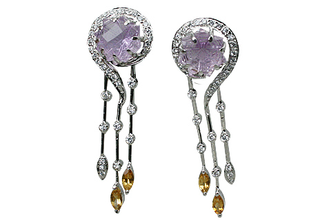Design 11552: purple,yellow,multi-color amethyst earrings