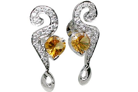 Design 11556: Yellow, White citrine earrings