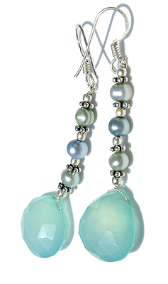 Design 11622: blue,green chalcedony earrings