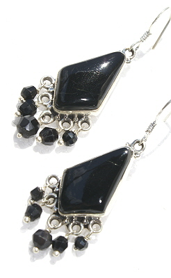 Design 11667: black onyx chandelier earrings