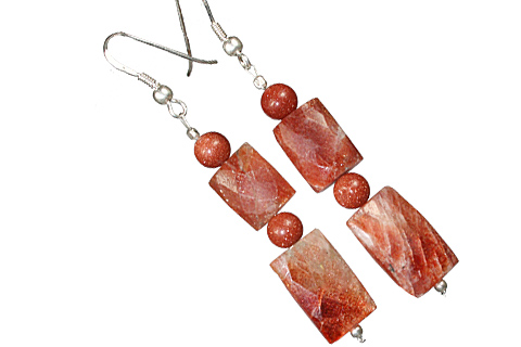 Design 11799: brown,orange sunstone earrings