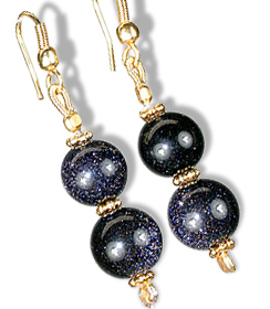 Design 11829: black,blue goldstone earrings