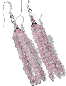 Design 11846: pink rose quartz multistrand earrings